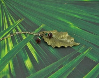Holly Leaf Necklace,  Holly Berry Earrings, Golden Holly Leaf, Holly Berries, Gold Leaf Necklace, Holly Leaf, Bronze Leaf, Holiday Earrings