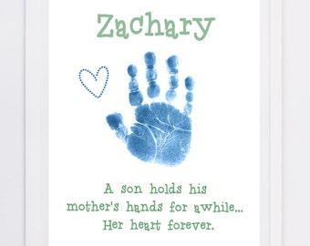 Hand Print Art, Child Memory - Handprint Keepsake - Handprint Art - New Mom - Bereavement Keepsake - Handprint and Footprint Keepsake