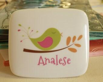 Personalized Ceramic Bird Keepsake/Jewelry Box :Choose your Bird
