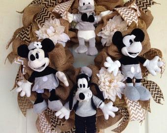 Burlap Disney Wreath with Chevron Ribbon