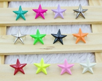 100pcs 15mm Big Size Star Shape Rivet Studs For Clothing Crafting,Star Studs,Shoes&Bags DIY Studs,Clothing Buttons