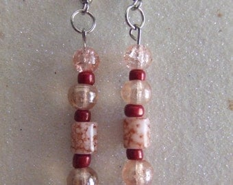 Pale Pink Glass Beaded Drop Earrings