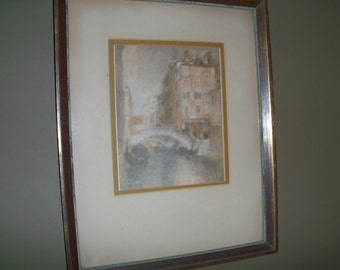 Large Vintage Framed Venice Lithograph James Abbott MacNeill Whistler