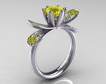 14K White Gold 1.0 Ct Yellow Sapphire Diamond Nature Inspired Engagement Ring Wedding Ring R671-14KWGDYS