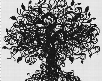 Handmade Tree of Life Silhouette PDF Cross-Stitch Pattern