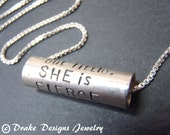 Sterling Silver Inspirational Necklace Shakespeare quote Necklace She is Fierce