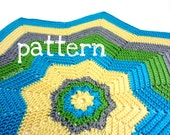 star crochet pattern - 8 point star afghan- turquoise green sunshine grey  - baby blanket - pattern by RockinLola