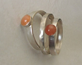 Set of 3 Agate Stacking Silver Ring  -  Made to order