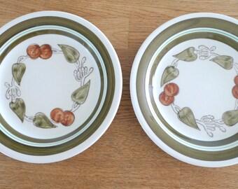 Gefle Julia Dinner Plates -  Set of Two Swedish Vintage 1970s Handpainted Scandinavian