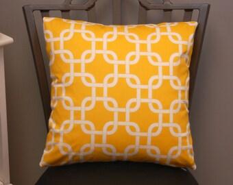 16 inch Yellow White Lattice Print Throw Pillow Cover, Decorative Sofa Pillow, Premier Prints Corn Yellow, invisible zipper closure
