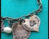 hand stamped cuff bracelet, growing old together, wedding keepsake, bridal shower, bride gift, anniversary, wedding anniversary,