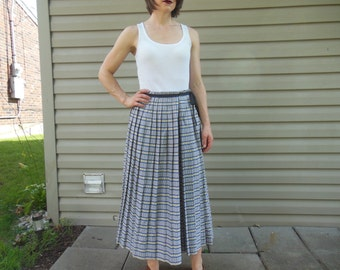 Vintage 1990's blue, white, and floral stripe, pleated maxi skirt
