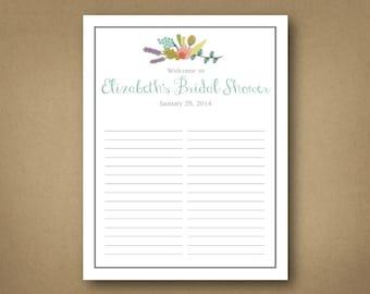Bridal // Shower // Sign-in.  Customizable digital download.