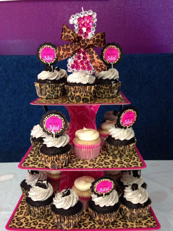3 tier leopard cheetah pink swirls cupcake by luxepartysupply - Cheetah print centerpieces ...