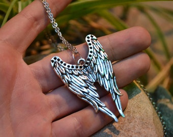 Castiel - inspired supernatural angel wings charm necklace