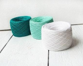 set of 3 balls - natural linen thread - mint green., emerald green and snow white