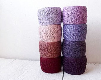 Crochet Thread collection - high quality 100% Linen Thread in purple, lavender, light pink and burgundy , Radiant Orchid