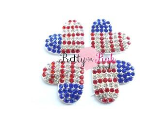 Flag Heart Rhinestone Button...choose quantity... Heart Rhinestone Button...Button.....DIY Headband...Embellishment