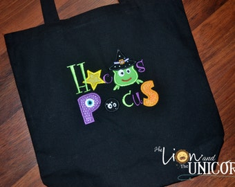 "Trick or Treat Tote with ""HOCUS POCUS"" applique Halloween Bag Candy Bag Fall Festival Bag"