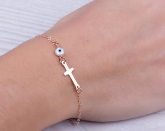 Gold evil eye bracelet / Gold cross bracelet / Evil eye bracelet / Gold sideways cross bracelet / Layered bracelet / Gold bracelet   Stilbe