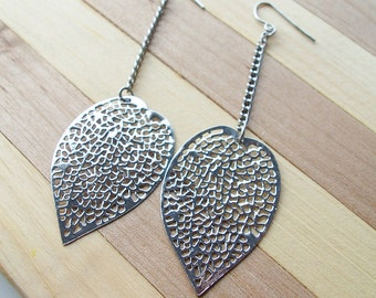 Silver metal lacy leaf charm earrings - leaf jewelry - metal charm earrings - leaf earrings - leaves - leaf charm jewelry - leaf jewelry
