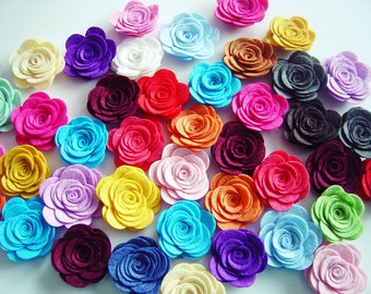 Felt Flowers, 10 Pcs Large Size Felt Rose , Felt Roses, Pick Your Colors For Spring, Easter Themes, Felt Die Cut Flowers