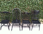 Distressed Black Vintage Dining Chairs, Set of 4, Mix & Match, Painted Chairs, Black Chairs,Spindle Chairs,  Kitchen Chair (Los Angeles)