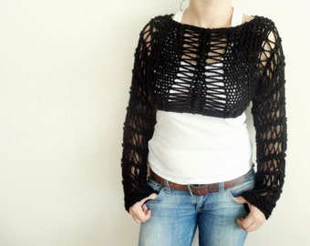 Black Long sleeved cropped sweater shrug Hand Knitted Bolero Wool Handmade Winter Fashion