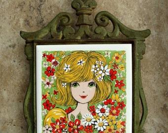 Vintage Cast Iron Tile Trivet Girl & Flowers FM Japan