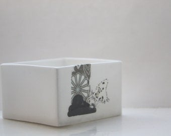 Big pure white cube made from English fine bone china with a black and white illustrations - geometric decor- illustrated ceramics