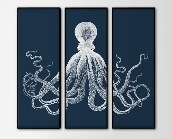 Octopus Triptych 3 Large Prints Navy Octopus Trio By