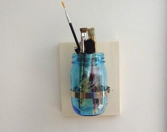 mason jar wall vase, bathroom organizer, wood jar sconce, wood wall organizer, vintage white cottage