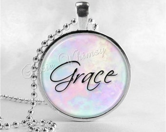 GRACE Inspirational Word Necklace, Inspirational Jewelry, Grace Pendant, Glass Photo Art Pendant Necklace