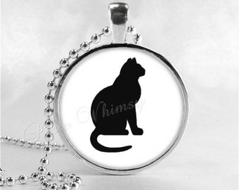 CAT Necklace, Cat Pendant, Cat Jewelry, Cat Charm, Glass Photo Art Necklace Pendant, Cat Silhouette