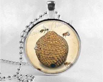 BEEHIVE Necklace, Beehive Jewelry, Beehive Pendant, Glass Art Pendant Charm, Honey Bee Jewelry, Apiary, Beekeeping, Bee Hive