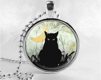 BLACK CAT Necklace, Crescent Moon, Cat Pendant, Cat Jewelry, Cat Charm, Glass Photo Art Necklace Pendant, Black Cat Jewelry, Halloween