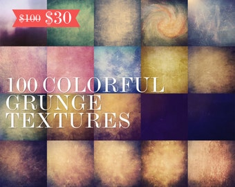 70% OFF! 100 Colorful Grunge Textures - 5000px