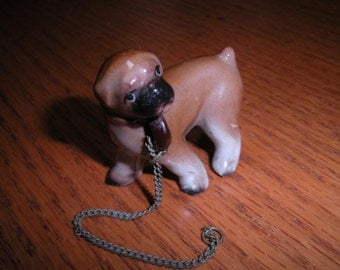 Vintage Miniature China Brown Boxer Bull Dog with Chain Figurine