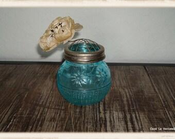 Vintage Glass Turquoise Flower Holder Frog