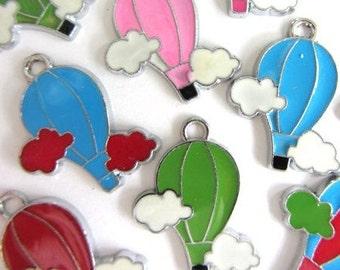 Set of 15 pieces Enamel HOT AIR BALLOON Charm Pendants