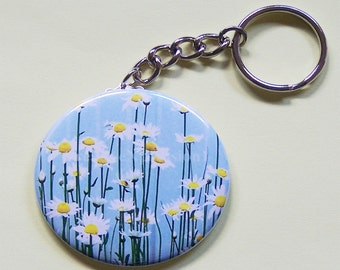 PHOTO KEYCHAIN - Springtime Daisies- 2.25 Inch Round