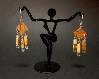 Olive wood and jasper earrings with sterling silver findings