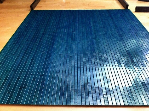 TAHOE BLUE Bamboo Chair Mat Office Floor Mat Hard Wood By Ecosleek