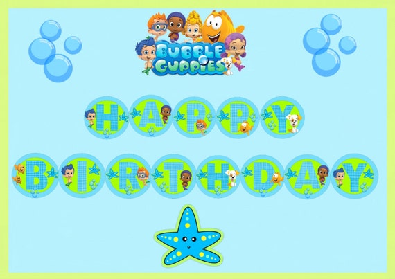 The Gallery For Bubble Guppies Birthday Banner Template
