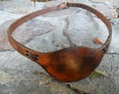 W.T.O Custom Handmade Leather Eye Patch, Aged Brown Pirate Eyepatch -- Ambidextrous! LEFT or RIGHT Eye  -- Custom Order Yours Today!