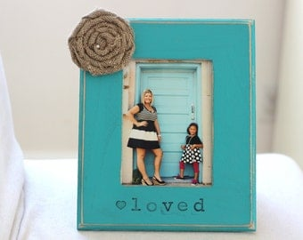 Christmas Holiday Gift for Mom, Gift for Daughter, Mother Daughter Sisters Gift Personalized Picture Frame 'Loved.'