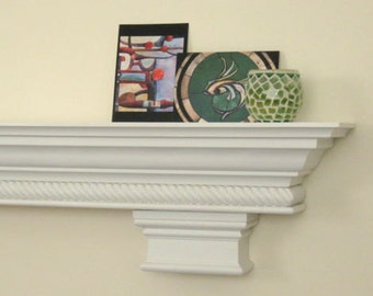 "FREE SHIPPING White Fireplace Mantel Shelf with Crown and Rope Moulding with Corbels - Custom, 48"",60"",72"" Lengths"