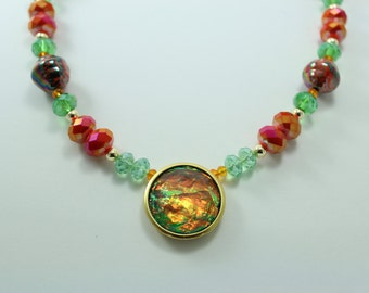Funky Green & Orange Necklace!