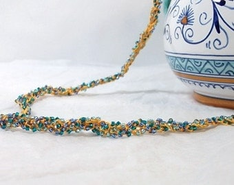 Sunshine in the Tropics Beaded Crochet Necklace - Yellow, Blue, Green  - One of a Kind