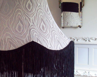 Handmade standard lampshade in dove grey vintage fabric with midnight blue ribbon &fringing